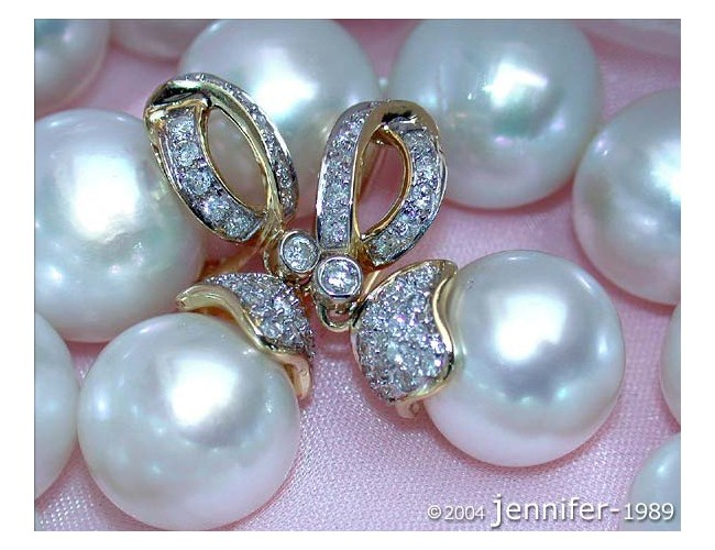 Elegant Southsea Pearl Earrings with Diamonds