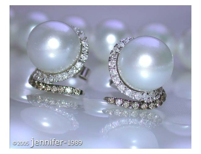 Southsea Pearl Studs with white & brown Diamonds
