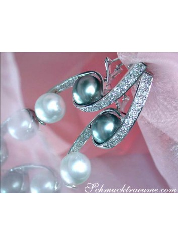 Terrific Tahitian & South Sea Pearl Diamond Earrings