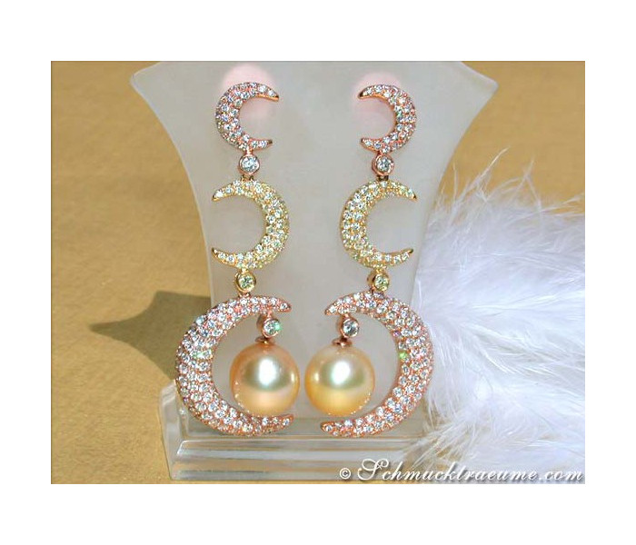 Stunning Dangling Earrings with Golden Southsea Pearls and Diamonds