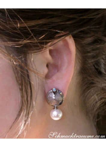 Extravagant Southsea Pearl Earrings with Blue Diamonds
