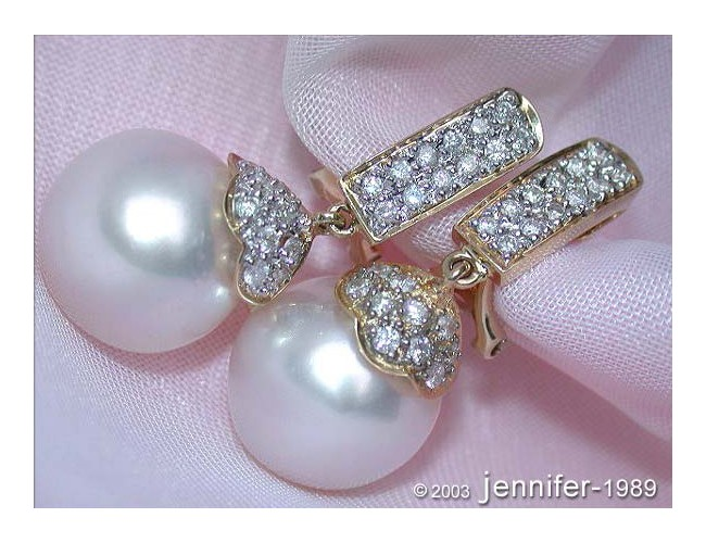 Elegant Southsea Pearl Earrings with Diamonds in Yellow gold 18k
