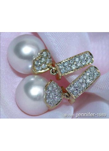 Elegant Southsea Pearl Diamond Earrings