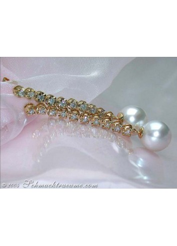 Extra long Southsea Pearl Dangling Earrings with Diamonds
