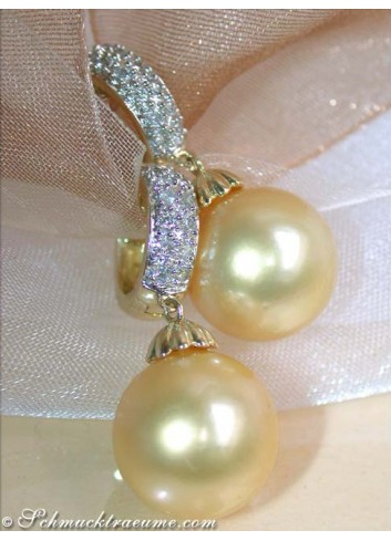Golden Southsea Pearls on Diamond Hoops