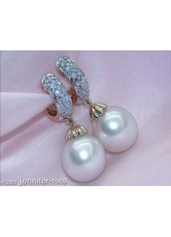 Fine Southsea Pearl Earrings / Hoops with Diamonds