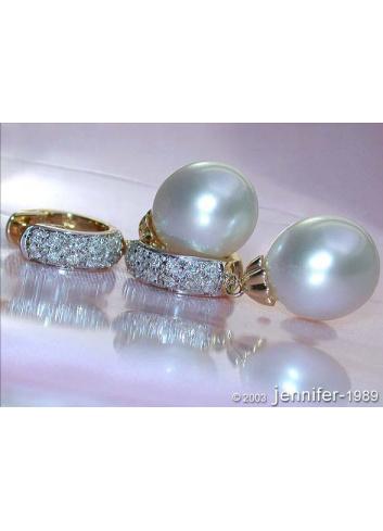 Südseeperlen Ohrringe mit Diamanten Gelbgold