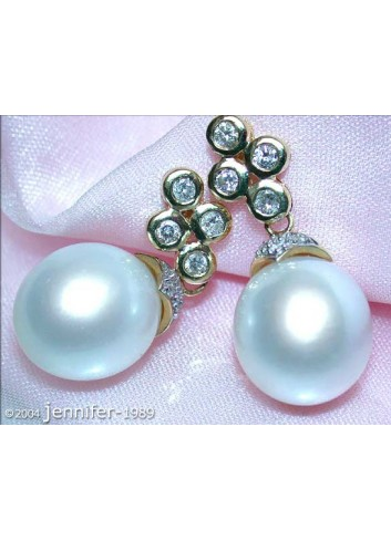 Elegant Southsea Pearl Earrings with Diamonds in a Classy Design