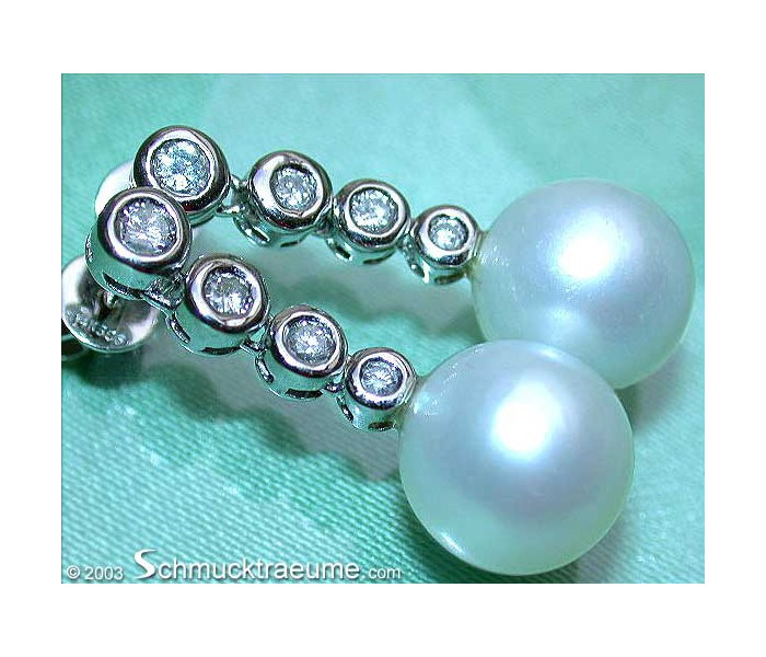 Exquisite Southsea Pearl Earrings with Diamonds