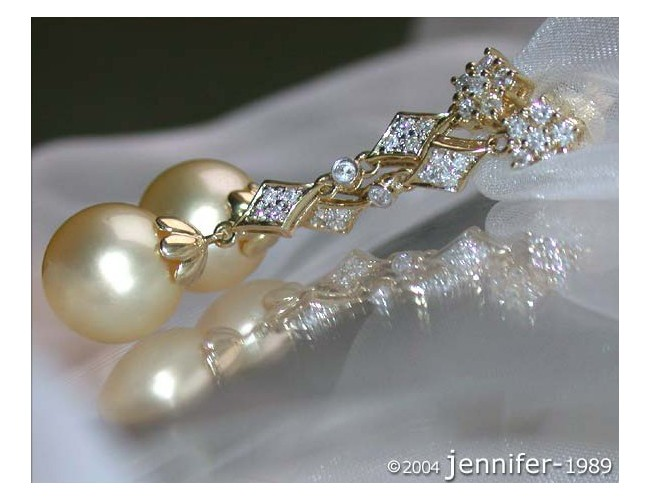 Long Dangling Earrings with Golden Southsea Pearls