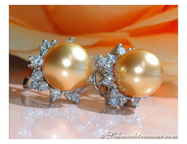"Pretty ""Star"" Studs with Golden Southsea Pearls & Diamonds"