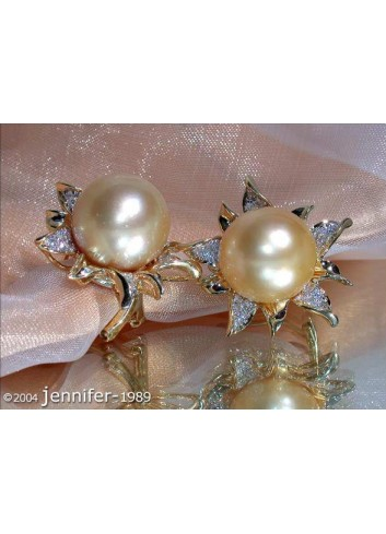 Blossom Style Studs with Golden Southsea Pearls & Diamonds
