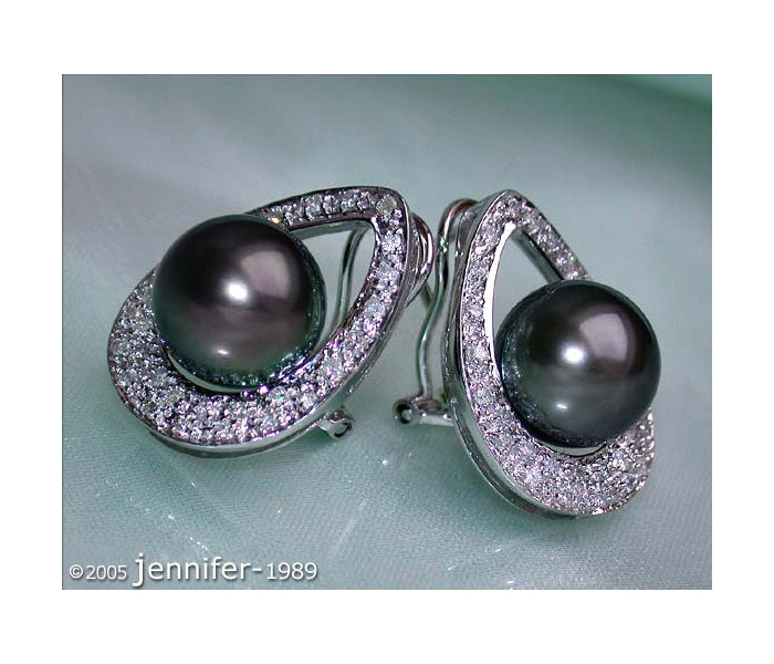 Pretty Tahitian Pearl Diamond Studs - Mikimoto Design