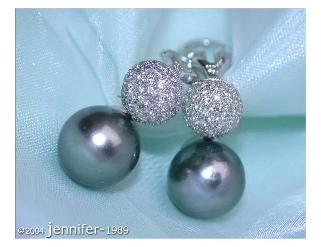 Pretty Tahitian Pearl Earrings with Diamond Pavé Balls