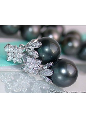 Tahitian Pearl Earrings with Diamond Squares
