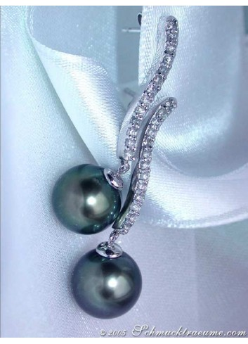 Curved Tahitian Pearl Earrings with Diamonds