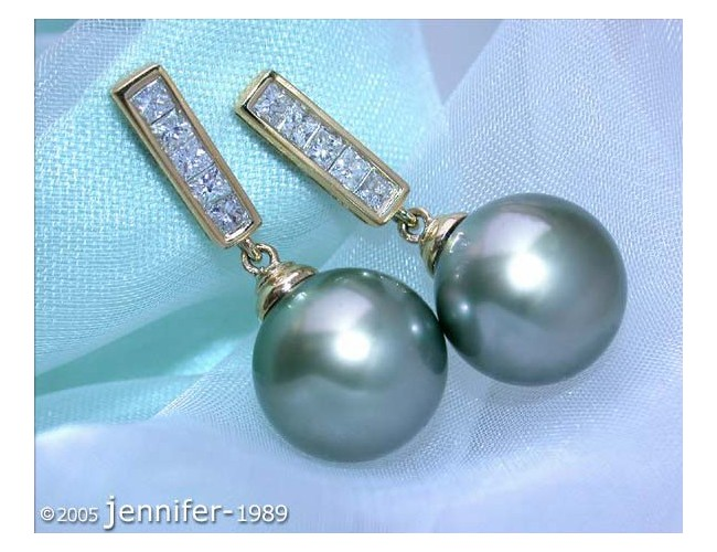 Simple Tahitian Pearl Diamond Earrings