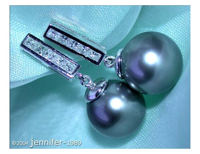 Simple Tahitian Pearl Diamond Earrings in White gold 18k
