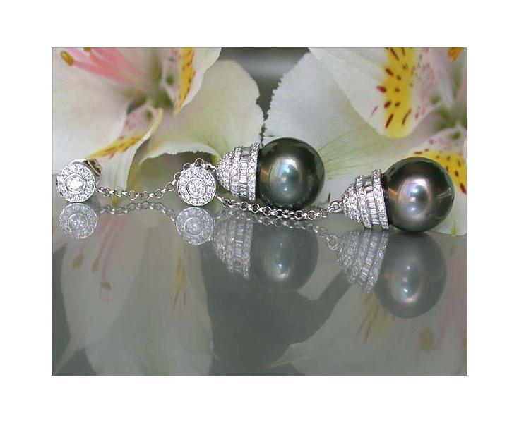 Long Tahitian Pearl Dangling Earrings