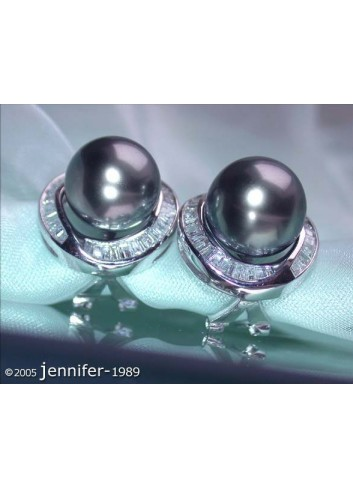 Gorgeous Tahitian Pearl Studs with Diamonds