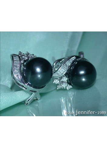 Highly Feminine Tahitian Pearl Studs With Diamonds