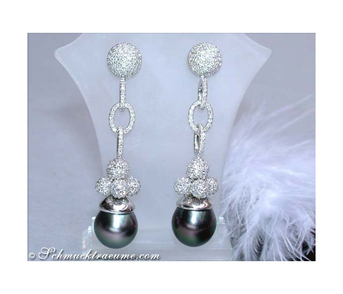 Exclusive Tahitian Pearl Dangling Earrings with Diamonds