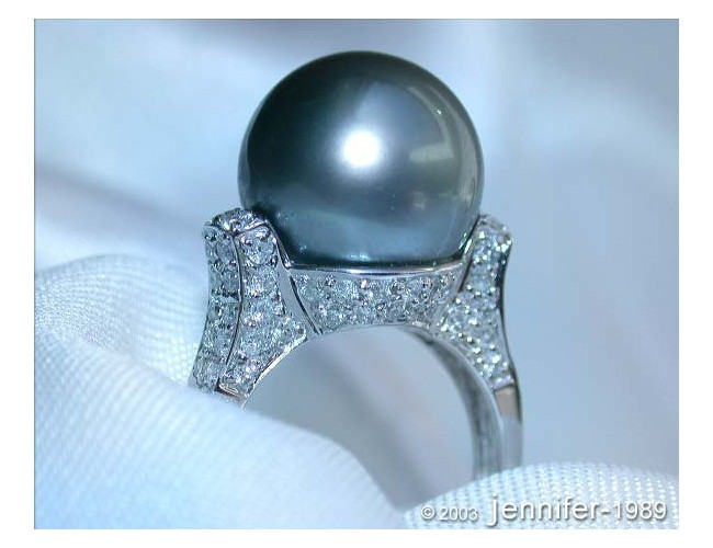 Superb Tahitian Pearl Ring with Diamond Collar