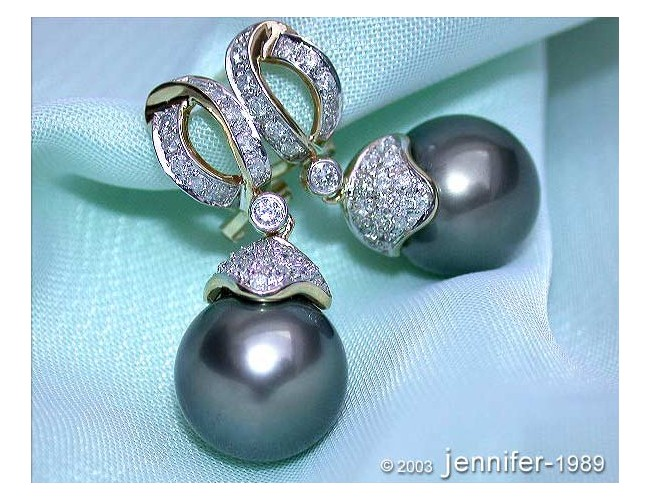 Elegant Tahitian Pearl Diamond Earrings