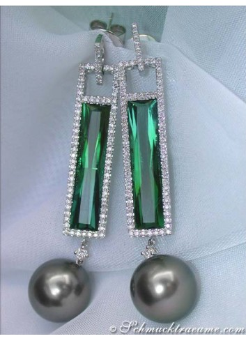 Stunning Dangling Earrings with Tahitian Pearls & Tourmalines