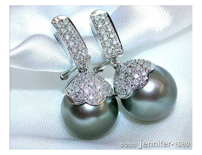 Stately Tahitian Pearl Diamond Earrings in White gold