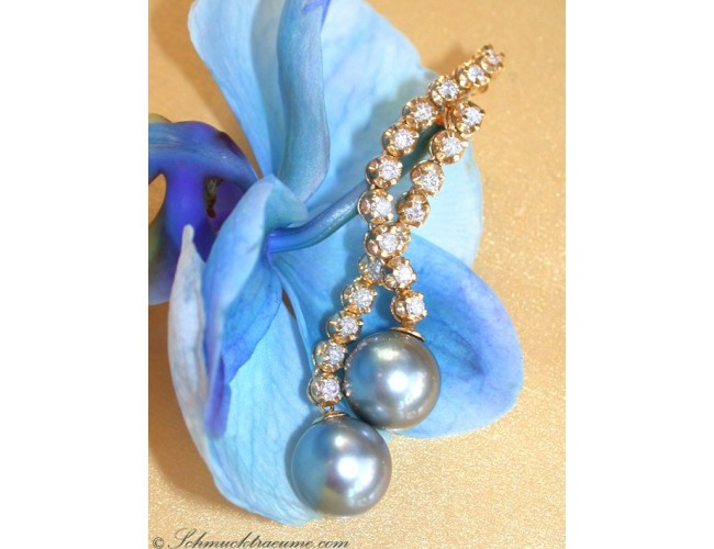 Long Dangling Earrings with Tahitian Pearls & Diamonds