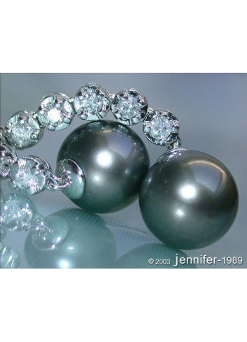 Extra long Tahitian Pearl Dangling Earrings with Diamonds