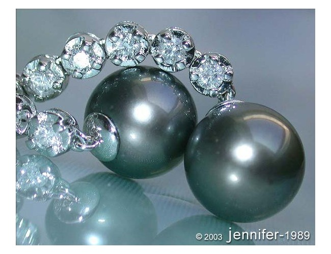 Stately Tahitian Pearl Dangling Earrings with Diamonds