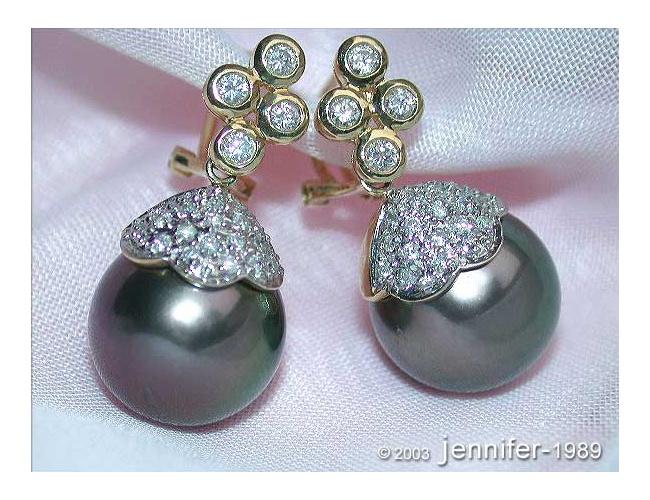 Classic Tahitian Pearl Diamond Earrings