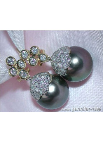 Classic Tahitian Pearl Diamond Earrings