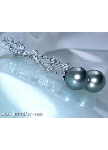 Precious Art Déco Inspired Tahitian Pearl Earrings