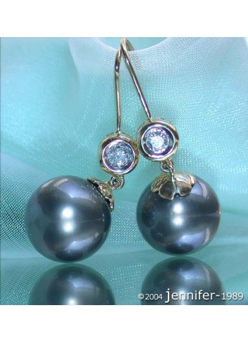 Pretty Tahitian Pearl Earrings with Diamonds