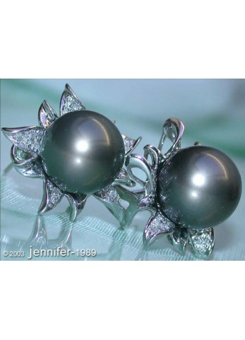 Tahitian Pearl Diamond Studs in Blossom Design