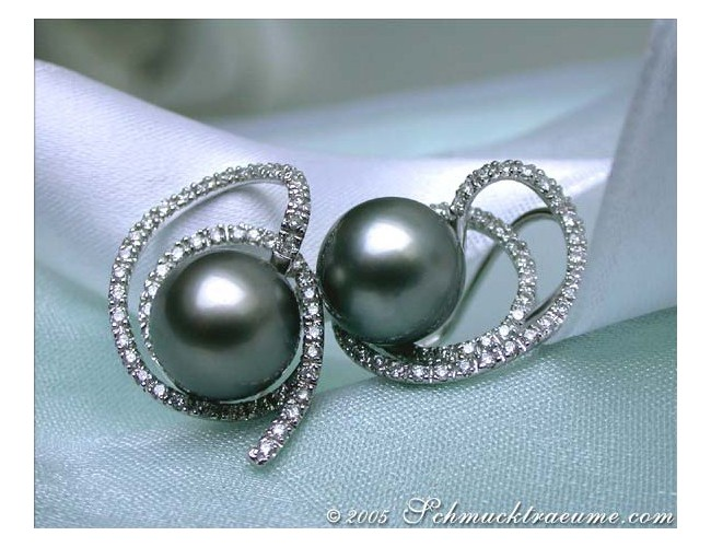 Playful Tahitian Pearl Diamond Studs