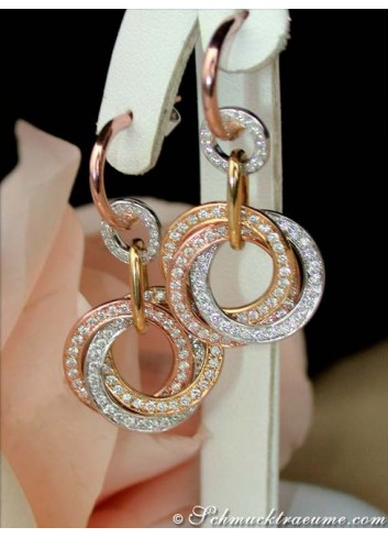 Triple Entwined Diamond Circle Earrings
