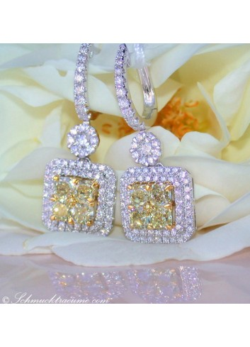 Beautiful dangling earrings with white & yellow diamonds