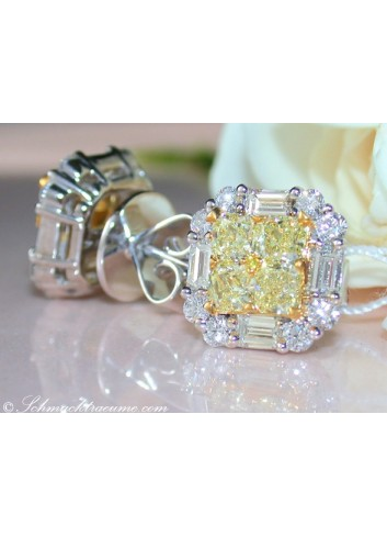 Gorgeous Yellow Diamond Stud Earrings