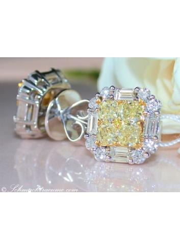 Gelbe Diamanten Ohrstecker