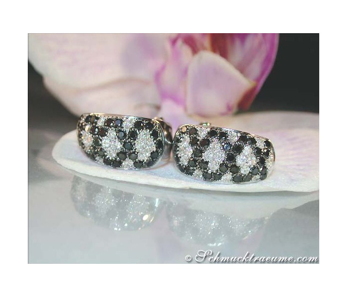 Interesting Black and White Diamond Earrings