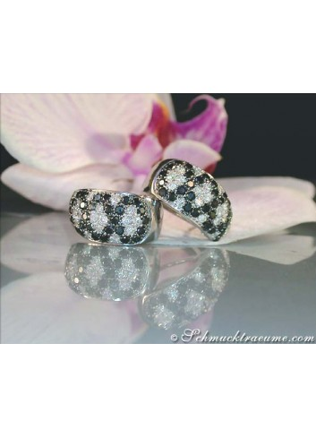 Rhombic Style Black and White Diamond Earrings
