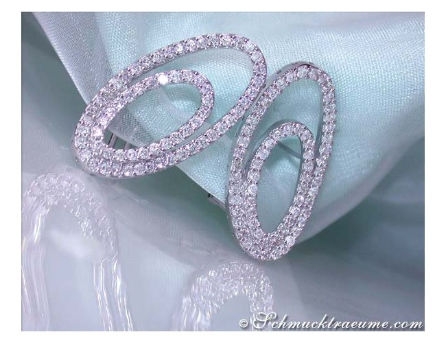 Pretty Diamond Ellipse Earrings