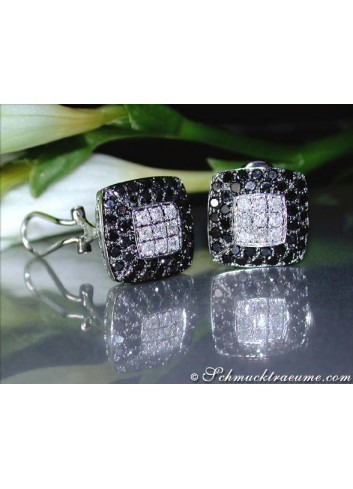 Simple stud earrings with black diamonds & diamonds