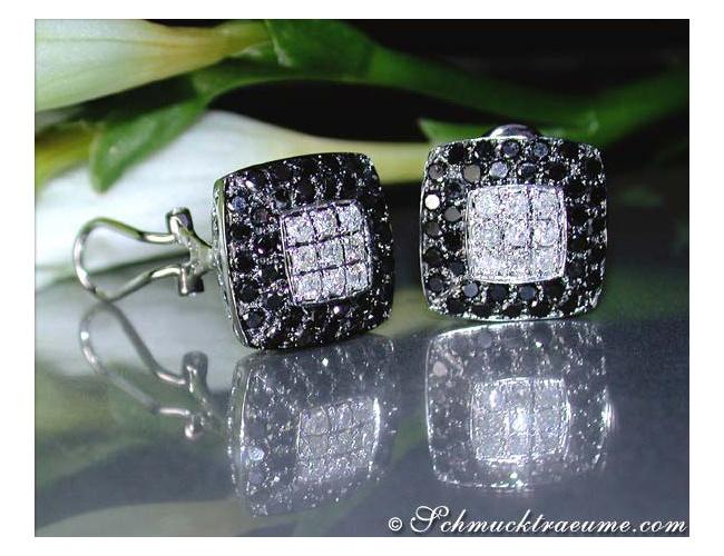Ohrstecker mit schwarzen Diamanten