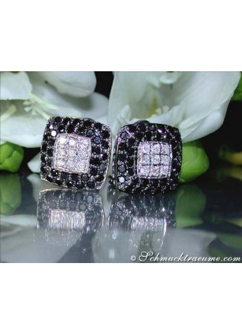 Simple stud earrings with black diamonds & diamonds