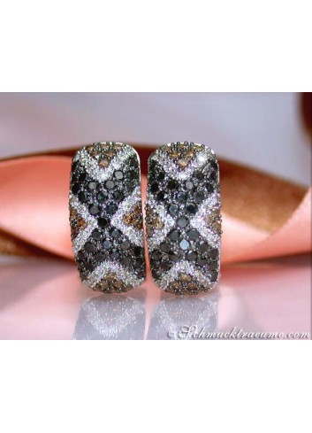 Earrings with black diamonds, white & natural brown diamonds